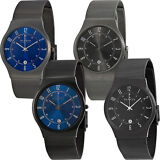 Skagen Titanium Case SS Mesh Band Mens Watch | Blue or Black Versions