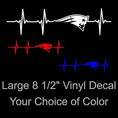 New England Patriots Colors (Large New England Patriots Heartbeat Vinyl Decal Sticker - Pick Your)