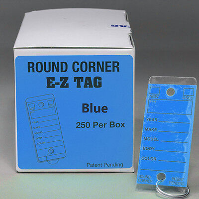 Blue Car Dealer Key Tags Self Laminating Blue Round Corner Ez407 250p