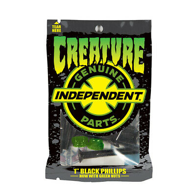 """INDEPENDENT x CREATURE Skateboard Truck Mounting Bolts 1"""" Phillips Head x8 GREEN"""