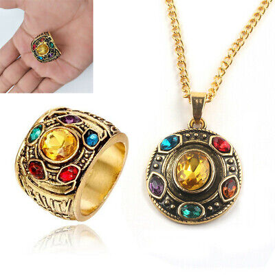 Thanos Infinity Stones Necklace Metal Pendant Chain POWER RING Marvel Avengers - Avengers Jewelry
