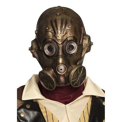 STEAMPUNK LATEX MASKE Retrolook Wave Gothic Fantasy Gasmaske Kostüm Party 54537 (Gold Kostüm Maske)