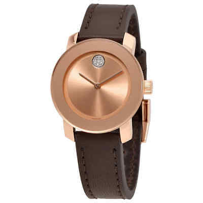 Movado Bold Rose Dial Brown Leather Ladies Watch 3600438