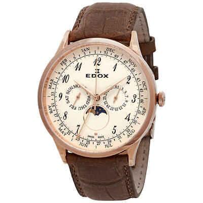 Edox Les Vauberts Rose Dial Brown Leather Men's Watch 40101 37RC BEBR
