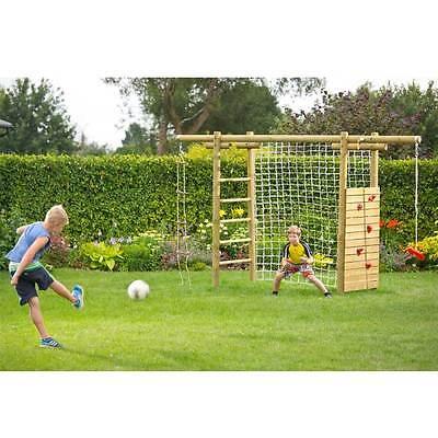 Klettergerüst 360x120x230 Holz Spielgerüst mit Netz für Fußballtor Kletterwand