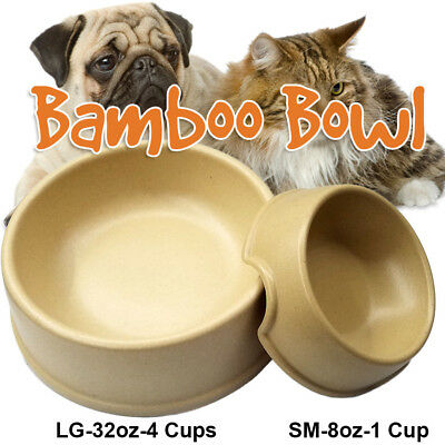 - NEW Bamboo Pet Food Bowls. Pet Feeding Dish. Cat, dog, puppy plate.