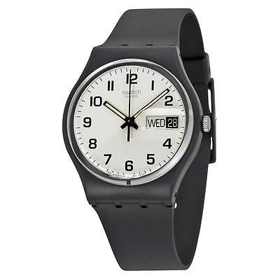 New Swatch Once Again Originals Day Date Mid Size Black Plastic Watch 34Mm Gb743