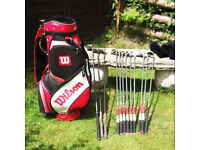 Full Set of Clubs, and Wilson Trolley Bag