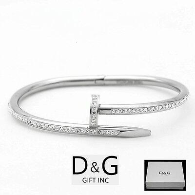 "DG Women's 6.5"" Stainless Steel,Silver Round Nail Bangle,CZ Bracelet*Unisex**Box"