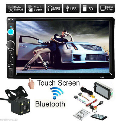 Double 2 Din 7'' Car Stereo MP5 Player In Dash USB FM Bluetooth Radio + Camera