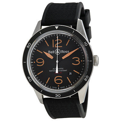 Bell and Ross Vintage Sport Black Dial Black Rubber Mens Watch