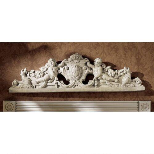 "37"" European Manor Wall Pediment Sculpted Devonshire Cupids Wall over Door Decor"