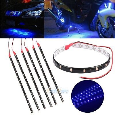 6PCS Waterproof 12''/15 DC 12V Motor LED Strip Light For Car Motorcycle Blue USA