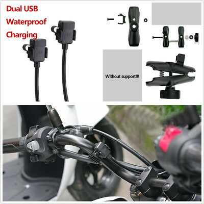 DUAL USB 12V MOTORBIKE GPS CELLPHONE CHARGER SOCKET WITH SWITCHMOUNT