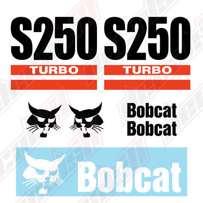 Bobcat S250 Turbo Skid Steer Set Vinyl Decal Sticker - Free Shipping