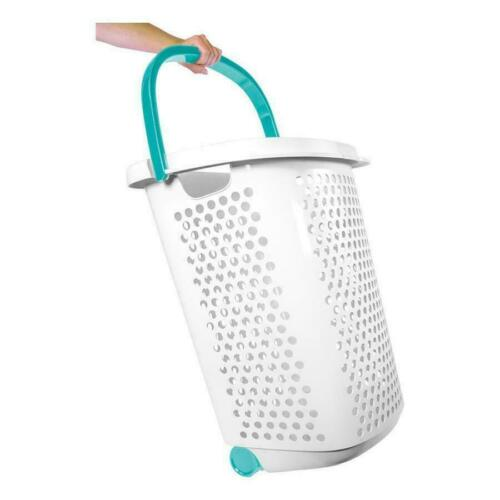 Laundry Hamper 2Bushel Basket Clothes Storage Bag Rolling Washing Bin in Plastic