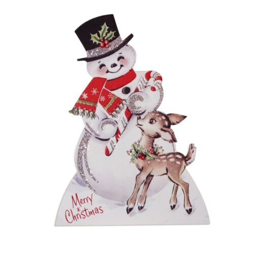 Bethany Lowe Christmas Snowman Retro Vintage Style Stand-up Dummy Board 9 inch