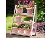 3 Tier Outdoor Plant Stand Rack Wooden Garden Display Pot Shelf Flower Theatre