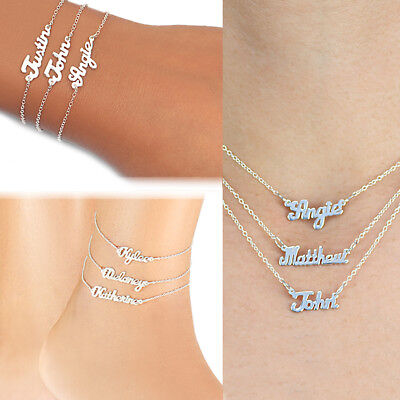 Personalized Any Name Silver and Gold Mini Name Plate Necklace Ankle Bracelet - Gold Any Nameplate Necklace Pendant