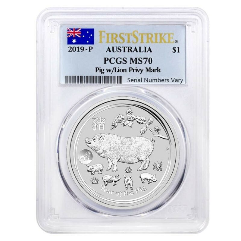 Sale Price - 2019 1 oz Silver Lunar Year of The Pig Lion Privy PCGS MS 70 FS