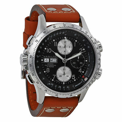 New Hamilton Khaki X-Wind Automatic Men's Leather Strap Watch H77616533