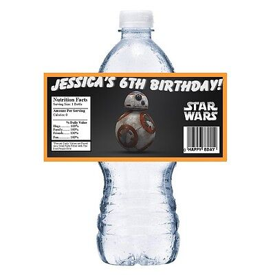 20 STAR WARS BB8, BB-8 PERSONALIZED BIRTHDAY PARTY FAVORS ~ WATER BOTTLE LABELS (Personalized Star Wars)