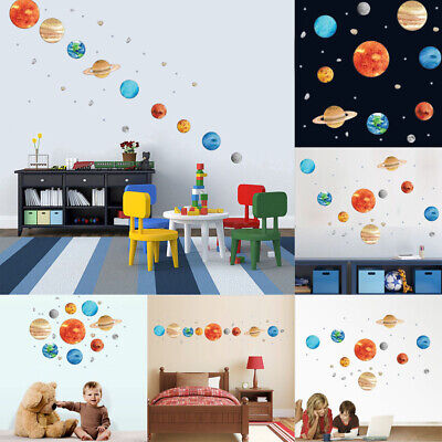 Mystic Planets Wall Sticker Solar System Space Wall Decal Kids Room Art Decor (Solar System Decorations)