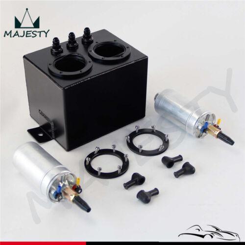 2PCS External 044 Dual Fuel Pump SL 3L High Flow Fuel Swirl Surge Pot Tank