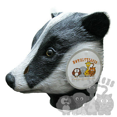 Woodland Animal Costumes (Latex Animal BADGER Head Party Mask - Woodland Halloween Hen Stag Props)