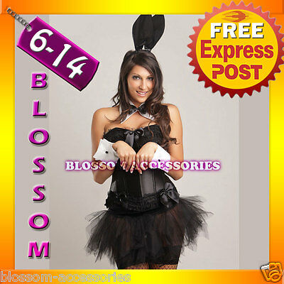 Ladies Alice Black Bunny Rabbit Fancy Dress Costume Outfit, Ears, Cuffs & Tutu - Alice Bunny Costume