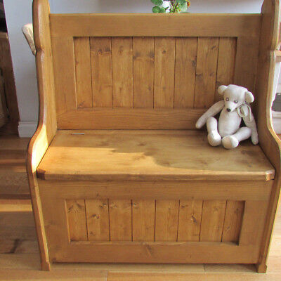 High back pine pew/ monks bench/box settle/ with storage under seat.