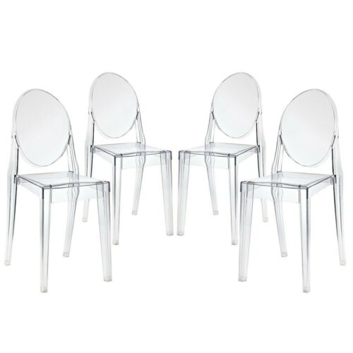 Modway Casper Modern Acrylic Dining Side Chairs in Clear - S