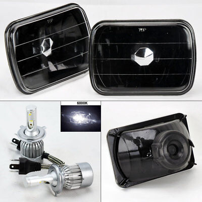 "7X6"" Black Glass Headlight Conversion w/ 6000K 36W LED H4 Bulbs Pair RH LH Jeep"