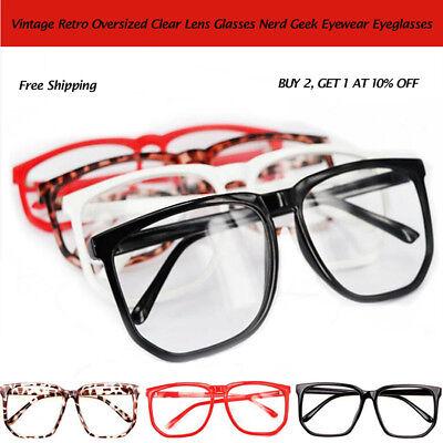 Oversized Glasses Big Eyewear Spectacles Nerd Eyeglasses Plain Retro Lens h