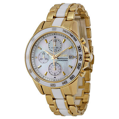 Seiko Sportura Chronograph Mother of Pearl Dial Gold-tone and White Ceramic Mens
