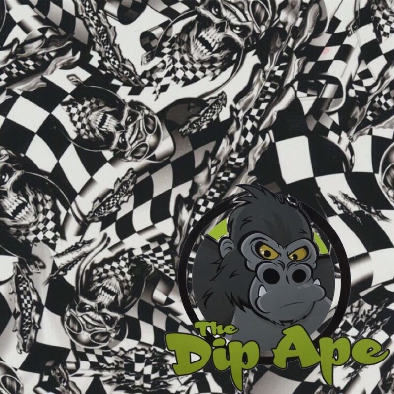 RACING SKULLS CHECKERED FLAG HYDROGRAPHIC WATER TRANSFER HYDRO FILM DIP APE