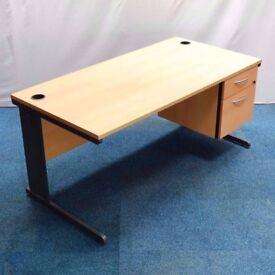 3x Office Workstation Desks - With Pedestal