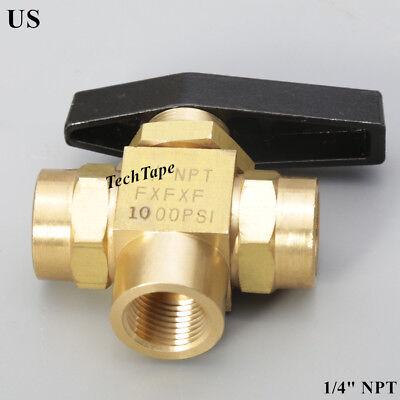3 Way Brass Ball Valve Needle Valve 14 Npt Lport Panel Mount Instrument Oil Us