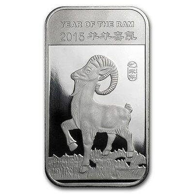 Chinese Lunar Calendar Year of the Ram Goat 2015 1 oz .999 Silver