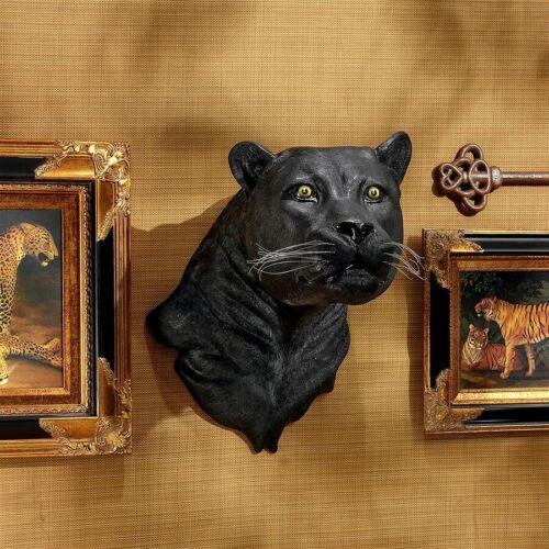 AFRICAN BLACK PANTHER WALL TROPHY STATUE SCULPTURE Jungle Predator Head Art Dad
