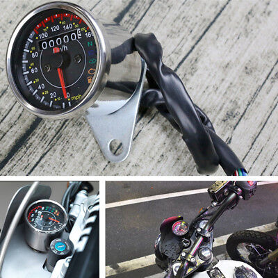 SILVER SHELL MOTORCYCLE LED BACKLIGHT SPEEDOMETER WITH FUEL LEVEL GEAR