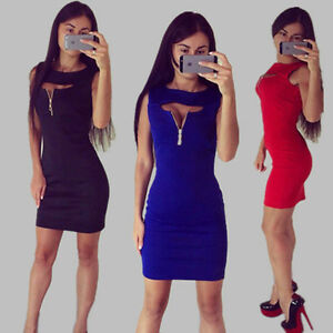 Sexy-Women-Zip-V-Neck-sleeveless-Pencil-Party-Evening-Mini-Short-Bodycon-Dress