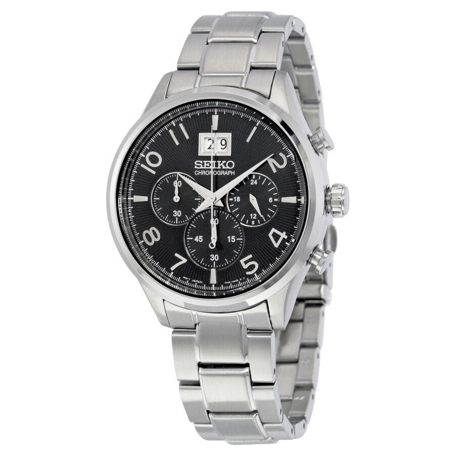 Seiko SPC153 Men\s Chronograph Quartz Black Dial Stainless Steel Sport Watch