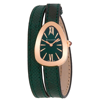 Bvlgari Serpenti Green Dial Ladies Double-Twirl Leather Watch 102726
