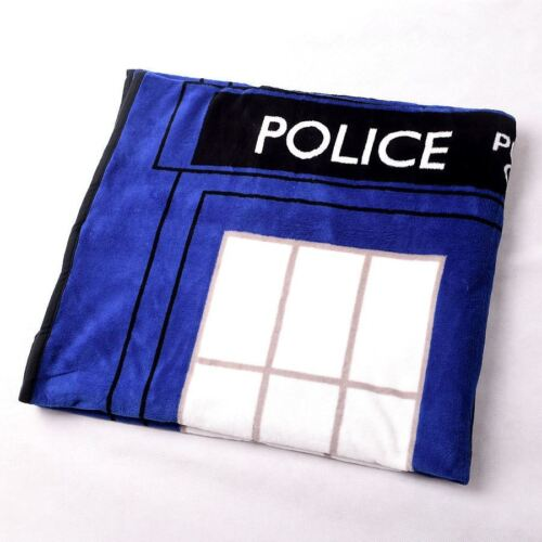 Nice Doctor Who Dr TARDIS Police Box Throw Blanket Xmas Gift Coral Velvet Carpet
