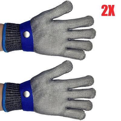 2x Edelstahl Stechschutzhandschuhe Kettenhandschuh Metzger Sicherheit Handschuh