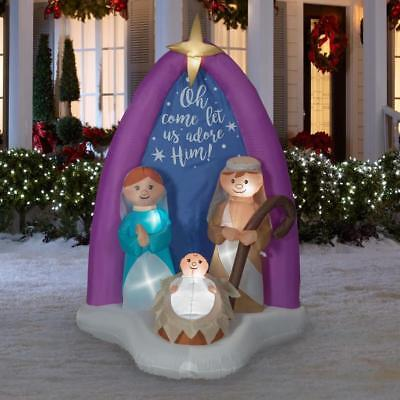 Christmas Air Blown Inflatable 6' Nativity Scene w/ Mary, Joseph, and Baby Jesus - Airblown Nativity