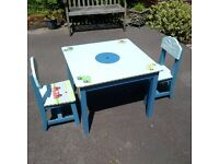 Charming children's table and chairs, heavy solid wood, hand painted, good quality