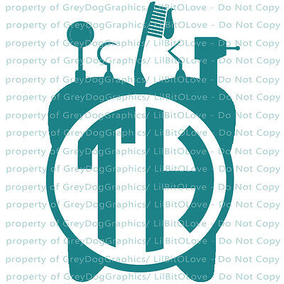 Custom Yeti Sized Dental Tools Tooth Monogram Decal Initials Sticker Dentistry
