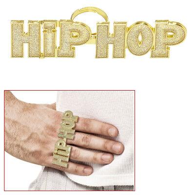 HIPHOP GOLDRING Karneval Rapper Gangster Pimp Zuhälter Ring Kostüm Schmuck - Kostüm Schmuck Gold Ringe